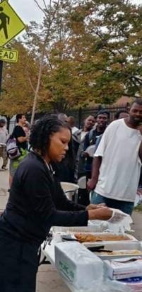 Trina M. Jackson, serving food to homeless community