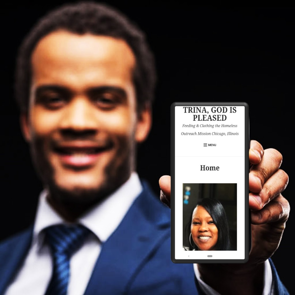mans smiling holding cellphone with trina's website image